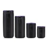 ซื้อ Beau 4Pcs Pack Dslr Slr Camera Lens Protective Bag Waterproof Neoprene Pouch Case Black Purple Intl ถูก ใน จีน