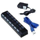 โปรโมชั่น Beautymaker High Speed 5Gbps 7 Ports Usb 3 Hub On Off Switches With Ac Power Adapter Cable For Pc Laptop Us Intl จีน