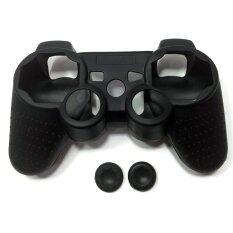 ซิลิโคนBlack Silicone Rubber Skin Light Controller for PS3 PlayStation 3 Controller Set (Skin X 1 + Thumb Grip X 2)