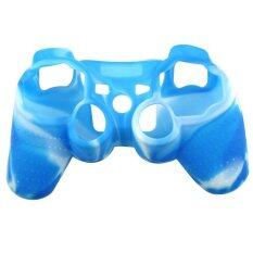 ซิลิโคนBlue Camouflage Silicone Rubber Skin Controller for PS3 PlayStation 3 Controller