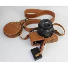 ราคา Bottom Opening Genuine Leather Camera Case For Canon Eos M10 15 45Mm 55 200Mm Dslr Cover Lens Caps Storage Bag Shoulder Strap Brown Intl เป็นต้นฉบับ
