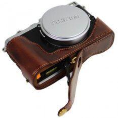 ราคา Bottom Opening Version Protective Pu Leather Half Camera Case Bag Cover With Tripod Design For Fujifilm Fuji X Series X70 Camera With Hand Strap Dark Brown ออนไลน์