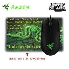โปรโมชั่น Brand New Original Razer Abyssus 2014 Ambidextrous Gaming Mouse 3500Dpi Optical Sensor 3 Programmable Hyperesponse Buttons Free Mouse Pad Intl ถูก