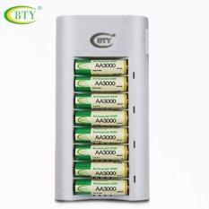ขาย Bty ถ่านชาร์จ Rechargeable Batteries Aa 3000 Mah Ni Mh 8 ก้อน และ เครื่องชาร์จเร็ว 8 ช่อง 1 เครื่อง ออนไลน์