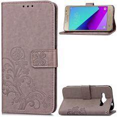 ขาย ซื้อ Byt Flower Debossed Leather Flip Cover Case For Samsung Galaxy J2 Prime Intl ใน จีน
