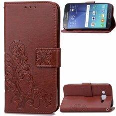 ขาย Byt Flower Debossed Leather Flip Cover Case For Samsung Galaxy J7 2015 Intl ใน จีน