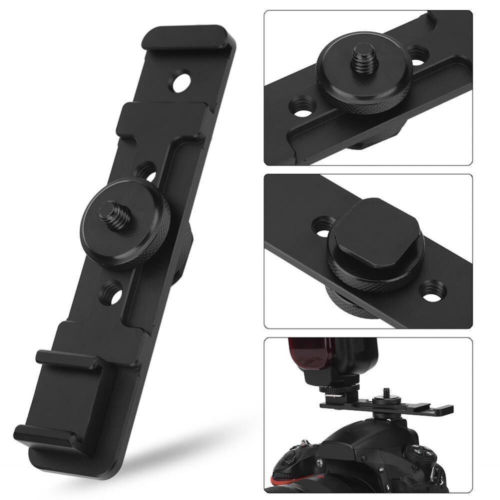 Camera Dual Hot Shoe Extension Bar Mount Bracket Accessory for Fill Light Microphone – intl