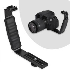 ซื้อ กล้องแฟลช L Bracket Dual Hot รองเท้า Adapter Mount Mount Dv ไมโครโฟน Led Light ออนไลน์ จีน
