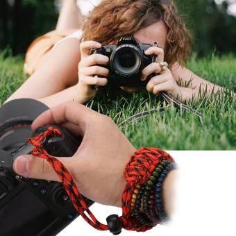 สายกล้องคล้องข้อมือมือจับปรับกลางแจ้งเชือกพาราคอร์ดสีแดงสีดำ - INTL-