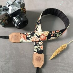 CandyLeather สายสะพายกล้อง Mirrorless หรือ DSLR สีดอกไม้ ดำส้ม