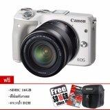 ซื้อ Canon Eos M3 Lens Ef M 15 45Mm Is Stm White Free Sdhc16Gbc10 กระเป๋ากล้อง Pl ฟิล์มกันรอย ใหม่