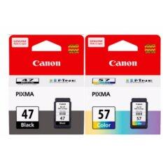 ซื้อ Canon Pg 47 Cl 57 ตลับหมึกอิงค์เจ็ท แคลนอลรุ่นE400 E410 E460 E480 สีดำ และ สี 1 Set ของแท้