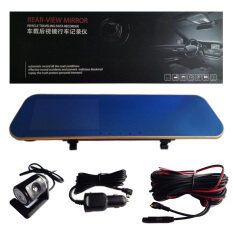 Car Camcorder Rear-View Mirror กล้องติดรถยนต์แบบกระจกมองหลังพร้อมกล้องติดท้ายรถ 1080P (สีดำขอบทอง)
