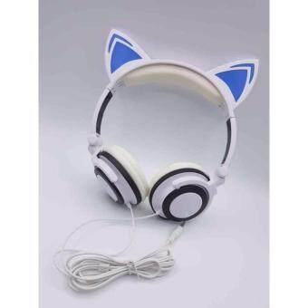 cat ear headphone headset smartphone pc tablet ear shape cat (white / blue) with