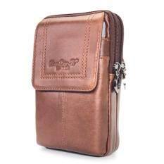ซื้อ Chinatown Leather กระเป๋ามือถือหนังแท้ร้อยเข็มขัดหนังแท้ ซิปคู่ สีน้ำตาลแทน ถูก ใน กรุงเทพมหานคร