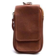 Chinatown Leatherกระเป๋าหนังแท้ใส่มือถือร้อยเข็มขัด หนังชาร์มัวร์ (สีน้ำตาลแทน)