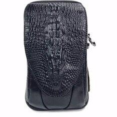 ซื้อ Chinatown Leather กระเป๋ามือถือหนังแท้ลายจระเข้ ใส่ Iphone6 7 พลัสได้ 3 เครื่อง สีดำ ใหม่ล่าสุด