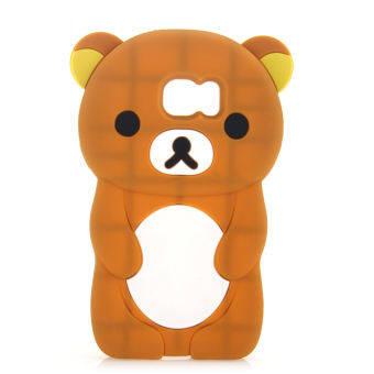 หมีน่ารักการ์ตูนซิลิโคนปกหลังสำหรับ Samsung Galaxy S7 ขอบ (สีน้ำตาล)-