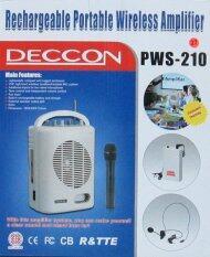 Deccon ลำโพงช่วยสอนพกพา/ตู้ช่วยสอน USB / SD และเล่น MP3 / FM ได้, เครื่องขยายเสียง 15 วัตต์ ไมค์ไร้สายแบบหนีบ /มือถือ  รุ่น PWS-210U- สีขาว ประกันศูนย์