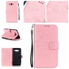 ราคา Diamonds Butterfly Pu Leather Case Flip Stand Cover For Samsung Galaxy J7 2016 J710 Pink Moonmini ออนไลน์