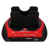 ราคา ราคาถูกที่สุด Docking All In 1 2 5 3 5 Dual Usb 2 Sata Sata Hdd Dock Station Hub Card Reader สีดำ สีแดง