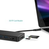 High Speed 8 Ports USB 3.0 Hub Type-C Adapter Charging For Mac Laptop PC Black