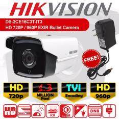 DS-2CE16C3T-IT3 CCTV กล้องวงจรปิด ทรงกระบอก HD 1.3 MP ล้านพิกเซล EXIR แบบใหม่ 2017 กล้อง 720p / 960p เลนส์  3.6mm + ฟรีอะแดปเตอร์ + ฟรีขายึดกล้อง ( DS-2CE16C0T-IR / DS-2CE16C0T-IT3 )