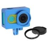 ราคา เคสโลหะป้องกันการตกกระแทกสำหรับกล้อง Xiaomi Yi Action Camera เลนส์ Uv Filter Len Capฝาปิดเลนส์ สีฟ้า ราคาถูกที่สุด