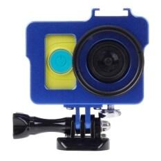 เคสโลหะป้องกันการตกกระแทกสำหรับกล้องXiaomi Yi Action Camera+เลนส์UV Filter+Len Capฝาปิดเลนส์ (สีน้ำเงิน)