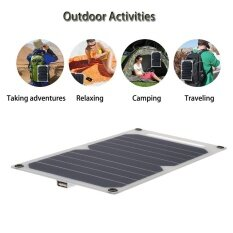 Escabyss Solar Charger 10W Portable Ultra Thin Monocrystalline Silicon Solar Panel 5V Usb Ports For Iphone Intl จีน