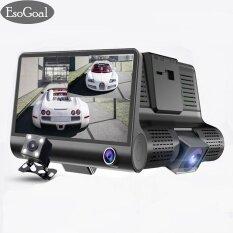 EsoGoal กล้องติดรถยนต์ 3 เลนส์ กล้องหน้า/กล้องภายในรถ และพร้อมกล้องหลัง จอ 4นิ้ว รุ่น C02 HD 1080P 3 LensVehicle Car DVR Dash Cam Rearview Video Camera