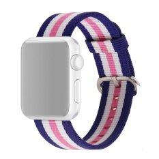 โปรโมชั่น Fashion Colored Woven Nylon Fabric Replacement Band Strap Bracelet Wrist Belt For Apple Watch Iwatch 42Mm Pink Blue Intl จีน