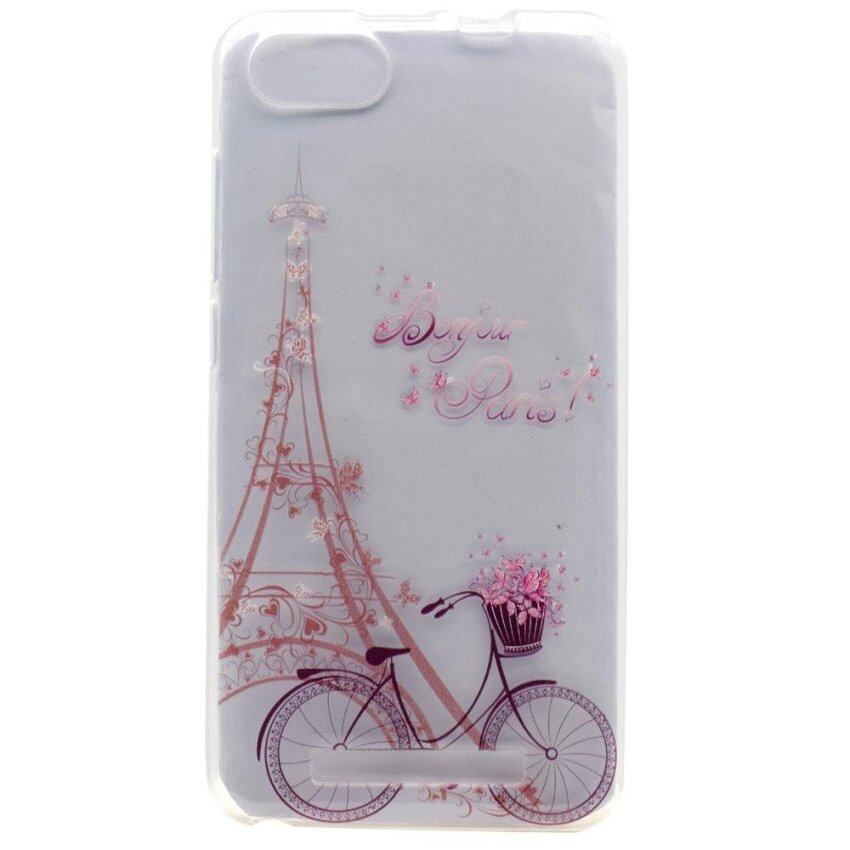 Fashion Patterned Soft TPU Mobile Phone Shell for Wiko Lenny 3 - Bike and Eiffel Tower - intl