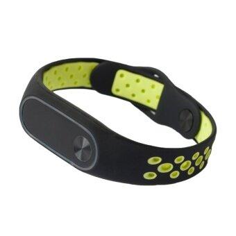 แฟชั่นซิลิโคนระบายอากาศการเปลี่ยนสายคล้องข้อมือกีฬา สร้อยข้อมือแถบสมาร์ทอุปกรณ์เสริมสำหรับ Mi BAND 2 ช่องสีเขียว (GREEN)