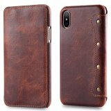 โปรโมชั่น For Apple Iphone X Leather Case Simple Luxury 100 Genuine Top Cow Oil Wax Leather Cell Phone Wallet Case Vintage Designer Folio Flip Cover With Card Slot Intl