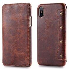 ขาย For Apple Iphone X Leather Case Simple Luxury 100 Genuine Top Cow Oil Wax Leather Cell Phone Wallet Case Vintage Designer Folio Flip Cover With Card Slot Intl Guluguru เป็นต้นฉบับ