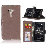 For Asus Zenfone 3 Ze552Kl 5 5Inch Vintage Retro Matte Wallet Flip Cover Pu Leather Mobile Phone Bags Protective Case With Card Slots Stand Holder Photo Frame จีน