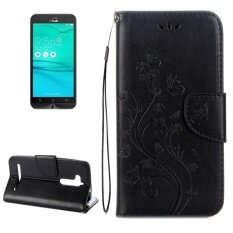 For Asus Zenfone Go Zb500Kl Pressed Flowers Pattern Horizontal Flip Leather Case With Holder And Card Slots And Wallet Black Intl ฮ่องกง