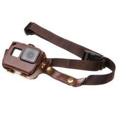 ขาย For Gopro Hero6 5 Pu Leather Housing Case With Neck Strap And Buttons Brown Intl Sunsky เป็นต้นฉบับ