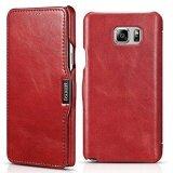 โปรโมชั่น For Icarercase Vintage Genuine Leather Wallet Case For Samsung Galaxy Note 5 Mobile Phone Flip Cover For Galaxy Note5 5 7 Inch With Credit Card Slot Red Intl