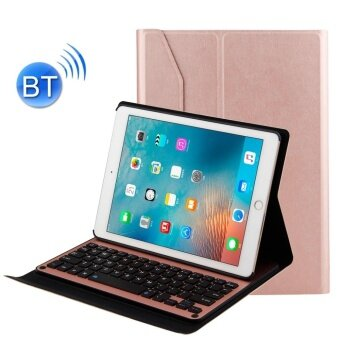 For iPad Air 2 / iPad Air / Pro 9.7 inch / iPad 2017 Detachable Aluminum Alloy Bluetooth Keyboard + Lambskin Texture Leather Case with Holder(Rose Gold) - intl