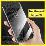 ราคา สำหรับ Nova 2I หรูหราชุบมุมมองที่ชัดเจนกระจกโปร่งใสฝาครอบโทรศัพท์มือถือฝาครอบมีขาตั้งพับเก็บได้ หนังเทียม Hosuing สำหรับหัวเว่ยโนวา 2I ปลอกโทรศัพท์มือถือ นานาชาติ Unbranded Generic เป็นต้นฉบับ