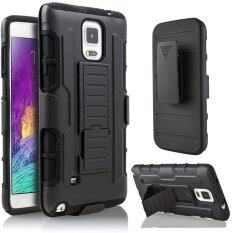 ซื้อ For Samsung Galaxy Note 4 Hybrid Full Protection High Impact Dual Layer Holster Case With Kickstand And Belt Clip ถูก