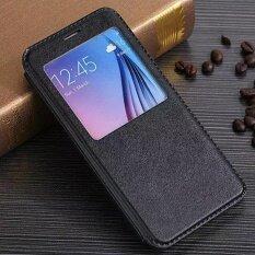 ทบทวน สำหรับ Samsung Galaxy S6 ขอบพลัสดูหน้าต่างฝาครอบหนังปกคลุมกรณีโทรศัพท์ สีดำ สนามบินนานาชาติ