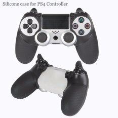 For Sony ทริกเกอร์ Silicone Rubber Soft Case Cover and Trigger Stop Armor for PS4 Controller Hand Grips -Black