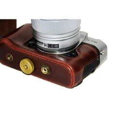 กระเป๋ากล้องกระเป๋าเคสครอบสำหรับ fuji xa3 xt10 สีน้ำตาลเข้ม Full case เว้าหน้า