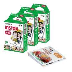 Fujifilm เซ็ตฟิล์มกล้องโพราลอยด์ Instax Mini (3 แพ็ก) + อัลบั้ม 1เล่ม (คละสี/คละแบบ)