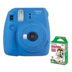 Fujifilm กล้องอินสแตนท์ รุ่น Instax Mini 9 (สี Cobalt Blue) + Fujifilm แผ่นฟิล์ม Instax Mini Pack 10 แผ่น.
