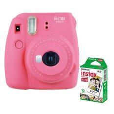 Fujifilm กล้องอินสแตนท์ รุ่น Instax Mini 9 (สี Flamingo Pink) + Fujifilm แผ่นฟิล์ม Instax Mini Pack 10 แผ่น.