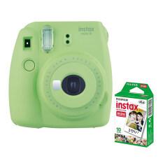 Fujifilm กล้องอินสแตนท์ รุ่น Instax Mini 9 (สี Lime Green) + Fujifilm แผ่นฟิล์ม Instax Mini Pack 10 แผ่น.